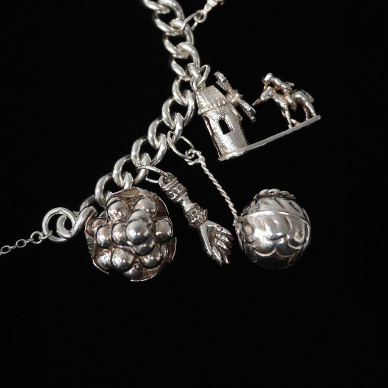 Vintage Sterling Silver English Padlocked Charm Bracelet with Seventeen Charms 5