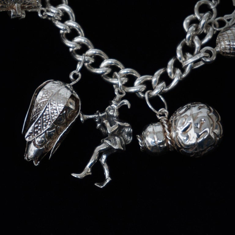 Vintage Sterling Silver English Padlocked Charm Bracelet with Seventeen Charms 1