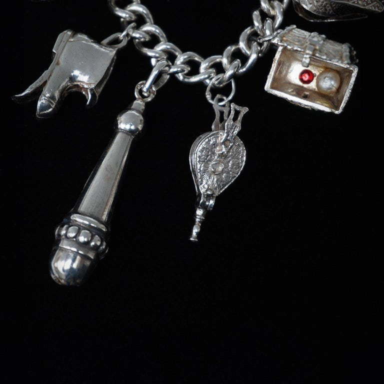 Vintage Sterling Silver English Padlocked Charm Bracelet with Seventeen Charms 2