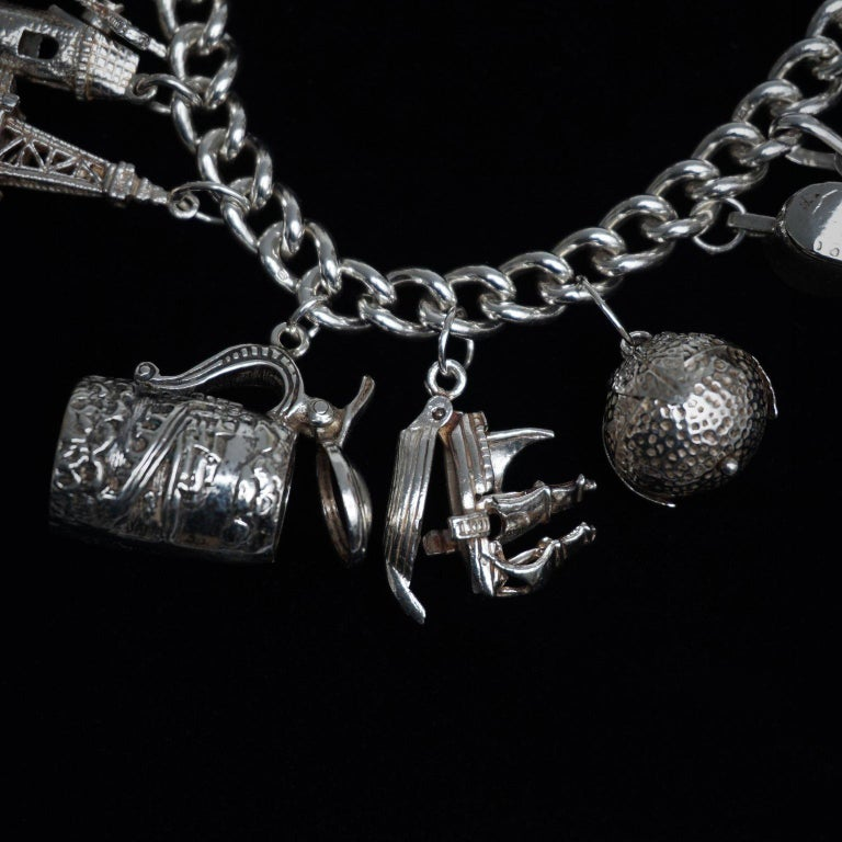 Vintage Sterling Silver English Padlocked Charm Bracelet with Seventeen Charms 3