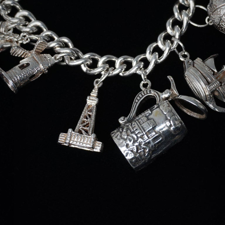 Vintage Sterling Silver English Padlocked Charm Bracelet with Seventeen Charms 4