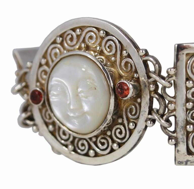 Round Cut Vintage Sterling Silver Gemstone Boho Style Bracelet For Sale