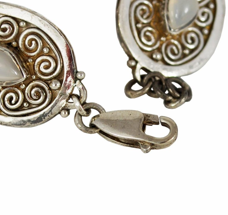 Women's or Men's Vintage Sterling Silver Gemstone Boho Style Bracelet For Sale