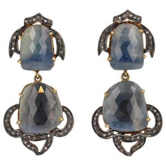 Vintage Sterling Silver Gold-Plated Sapphire Slice Earrings