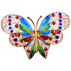 Vintage Sterling Silver/Gold Wash Enamel Butterfly Brooch