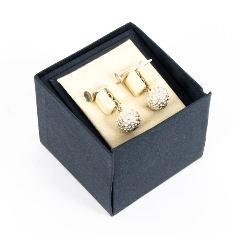 This is a beautiful pair of vintage sterling silver ball and tee golf cufflinks.  The silver is hallmarked 925.  gift idea for  Condition: In excellent unused condition, still in original box, please see photos for confirmation.  Dimensions