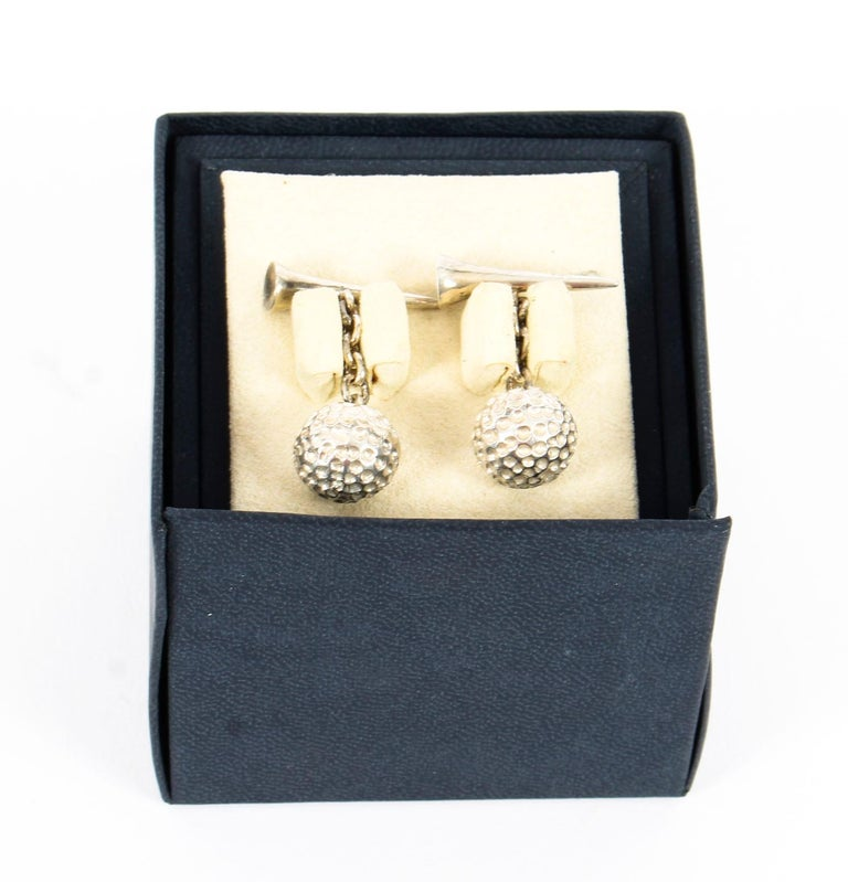 Vintage Sterling Silver Golf Cufflinks, 20th Century In Good Condition For Sale In London, GB