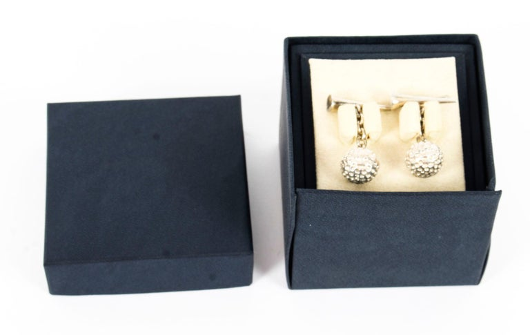 Late 20th Century Vintage Sterling Silver Golf Cufflinks, 20th Century For Sale