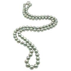 Vintage Sterling Silver & Grey Pearl Rope Necklace 1970s