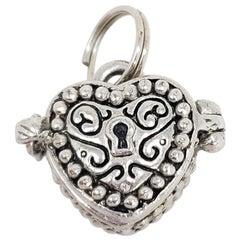 Vintage Sterling Silver Heart Locket Necklace Pendant, Mid 1900s