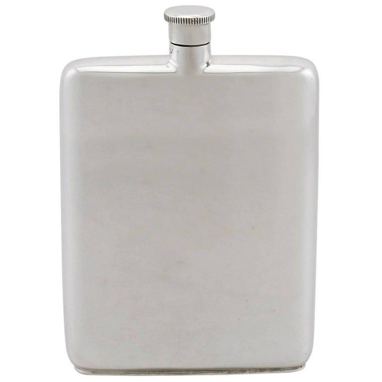Vintage Sterling Silver Hip Flask, 1962