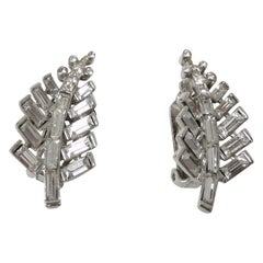 Vintage Sterling Silver Leaf Crystal Earrings