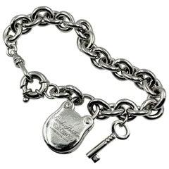 Vintage Sterling Silver Lock and Key Charm Bracelet, Brooks Brothers, New York
