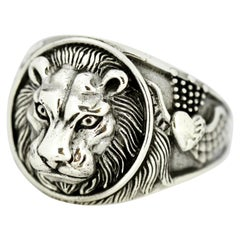 Vintage Sterling Silver Men's Ring in the Shape of a Lion, circa 1970s