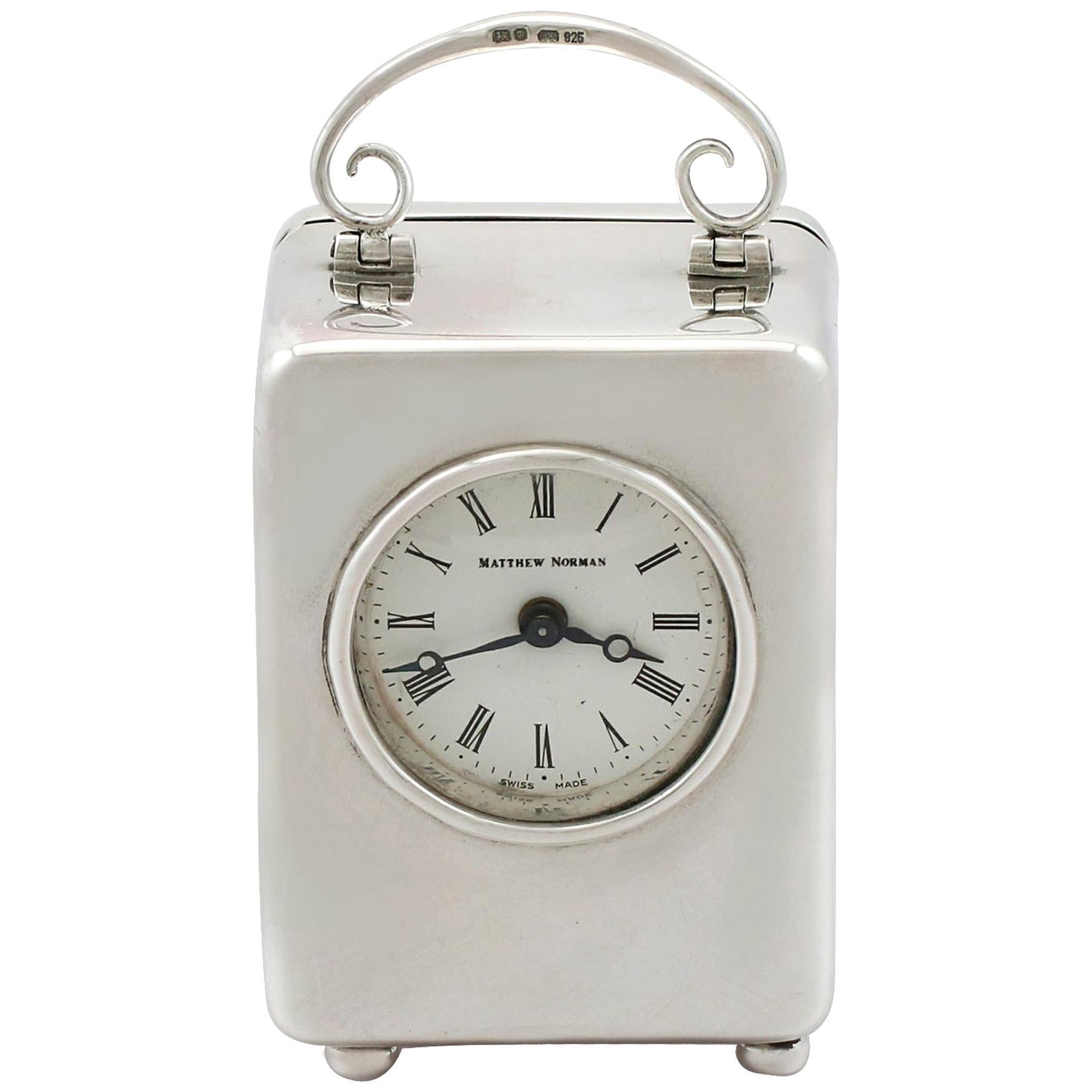 Vintage Sterling Silver Miniature Boudoir Clock, 1982