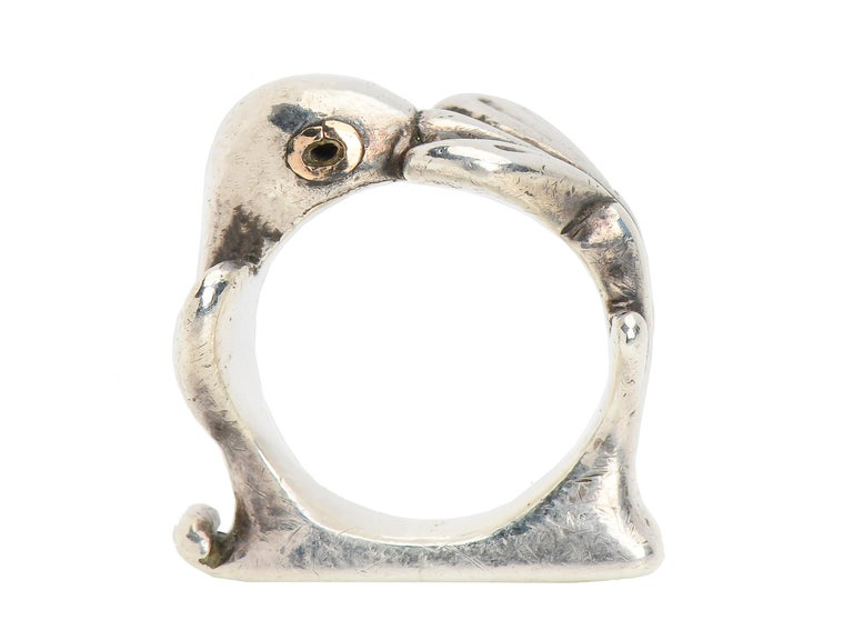 Mosheh Oved silver ring, in the form of a pigeon, is a highly collectible ring for history buffs, Oved collectors and animal jewelry lovers. Mosheh Oved, proprietor of the Bloomsbury Cameo Corner, a famous antique shop in England during the 1930's