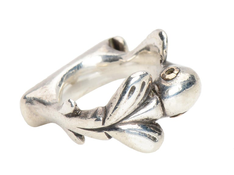 Retro Vintage Sterling Silver Mosheh Oved Pigeon Ring  For Sale