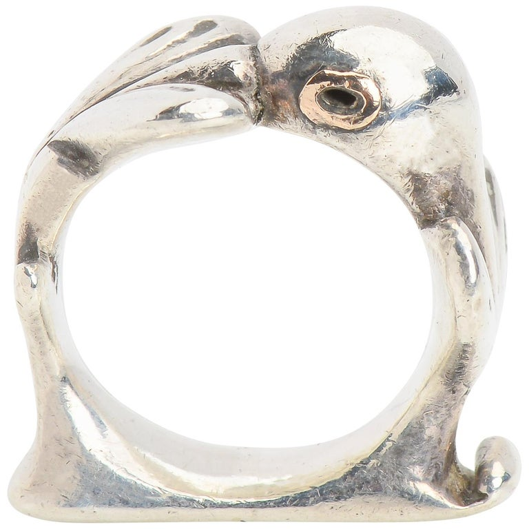 Vintage Sterling Silver Mosheh Oved Pigeon Ring  For Sale