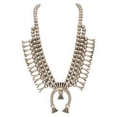 Vintage Sterling Silver Native American Navajo Squash Blossom Necklace