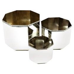 Vintage Sterling Silver Octagonal 3 piece Set of Pots / Bowls Plants Ice