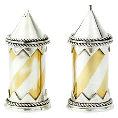 Vintage Sterling Silver Pair of Salt and Pepper Shakers, London, 1991