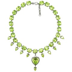 Vintage Sterling Silver Peridot Heart Collar Necklace 1990s