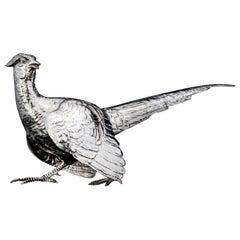 Vintage Sterling Silver Pheasant Bird Figurine by Edward Barnard & Sons Ltd