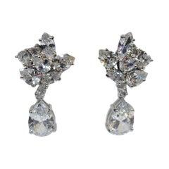 Vintage Sterling Silver Pierced Crystal Drop Earrings