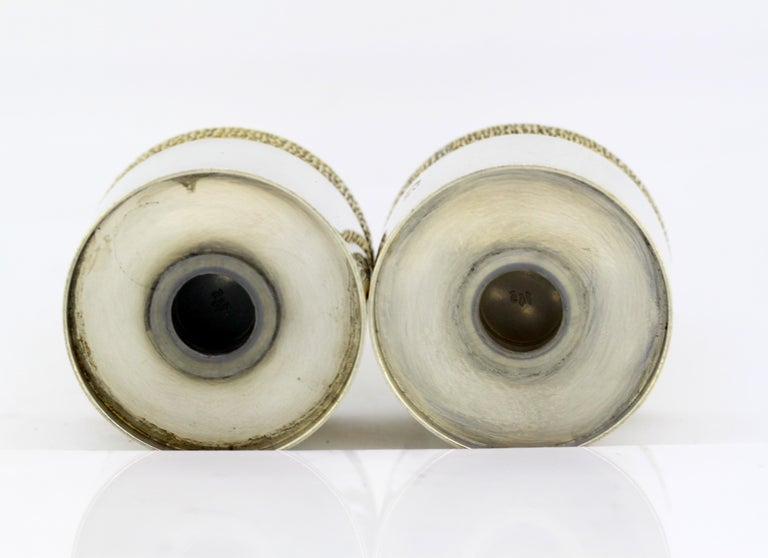 Late 20th Century Vintage Sterling Silver Salt and Pepper Shakers, London, 1977 For Sale