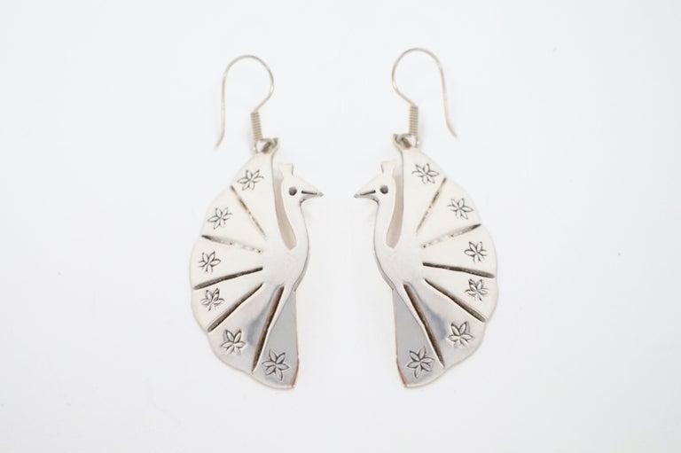 Modern Vintage Sterling Silver Taxco Handmade Peacock Earrings