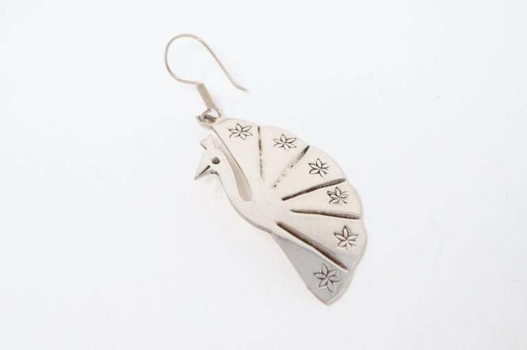 Women's Vintage Sterling Silver Taxco Handmade Peacock Earrings