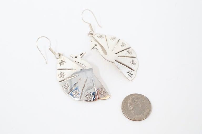 Vintage Sterling Silver Taxco Handmade Peacock Earrings 1