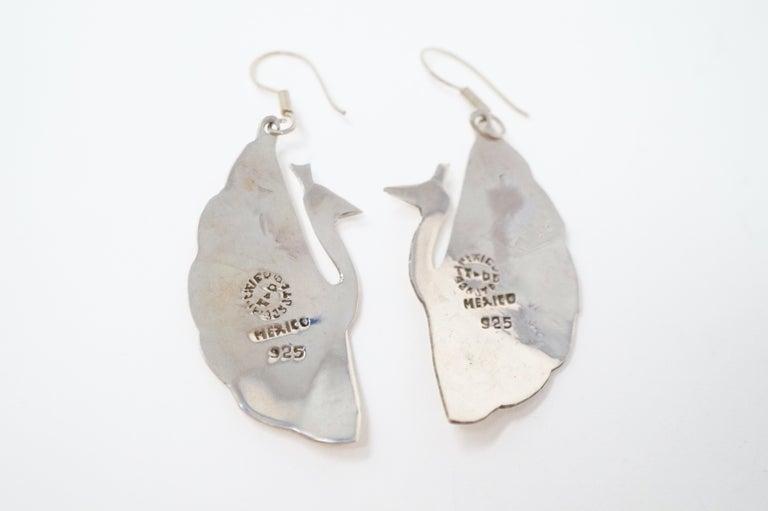 Vintage Sterling Silver Taxco Handmade Peacock Earrings 2