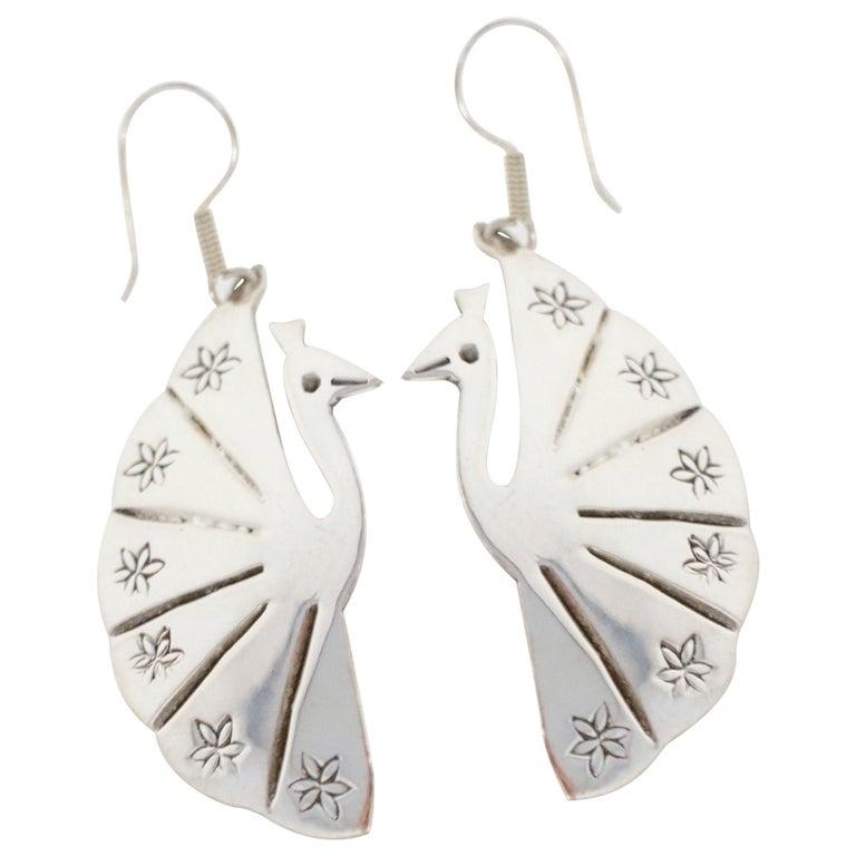 Vintage Sterling Silver Taxco Handmade Peacock Earrings