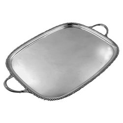 Vintage Sterling Silver Tea Serving Tray 1935 Rectangular Two Handled Tray