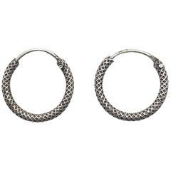 Vintage Sterling Silver Textured Hoop Earrings