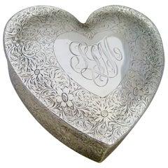 "Vintage Sterling Silver ""Valentine"" 'Heart' Jewel Box"