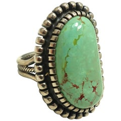Vintage Sterling Zuni American Indian Gillerimo Bernice GB Green Turquoise Ring,