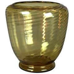 Vintage Steuben Amber Art Glass Swirled Vase, 20th Century