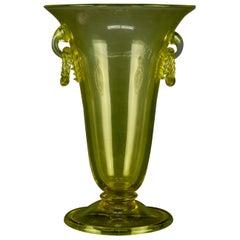 Vintage Steuben Mouth Blown Art Glass Handled Vase, 20th Century