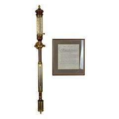 Vintage Stick Barometer, Gimballed Ship's Marine Weather Station