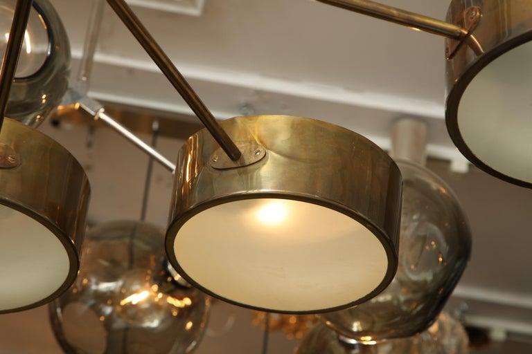 Vintage Stilnovo 8-Light Brass Chandelier For Sale 4