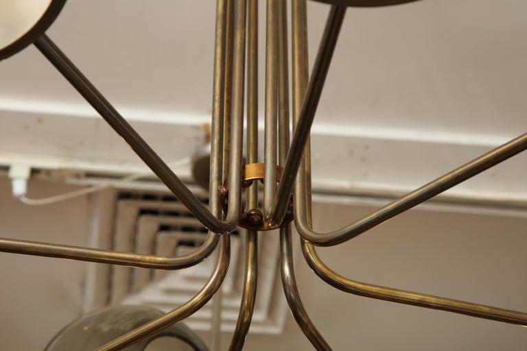 Vintage Stilnovo 8-Light Brass Chandelier For Sale 5