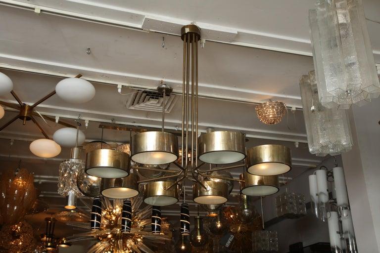 Vintage Stilnovo 8-light brass chandelier.