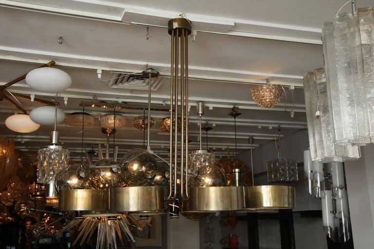 Italian Vintage Stilnovo 8-Light Brass Chandelier For Sale