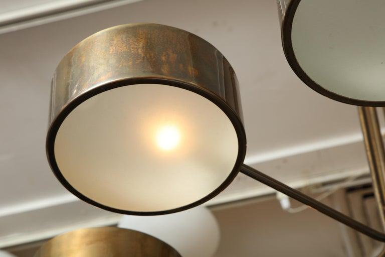 Vintage Stilnovo 8-Light Brass Chandelier For Sale 3