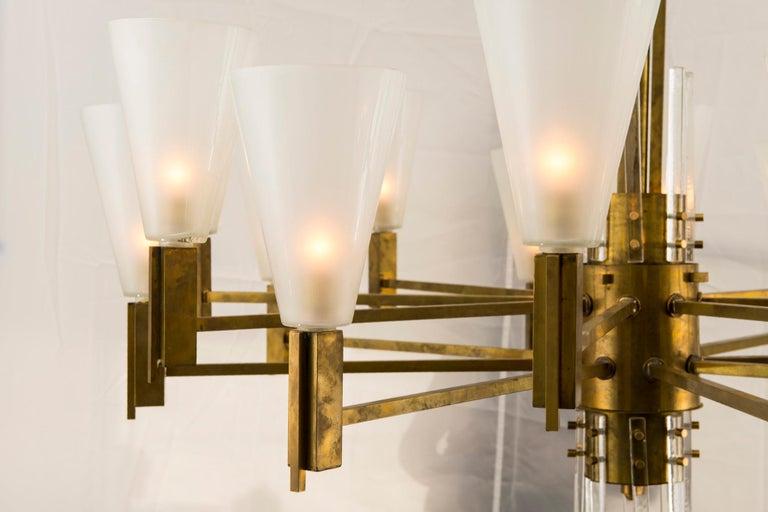 Modern Vintage Stilnovo Style Italian Brass and Glass Chandelier For Sale