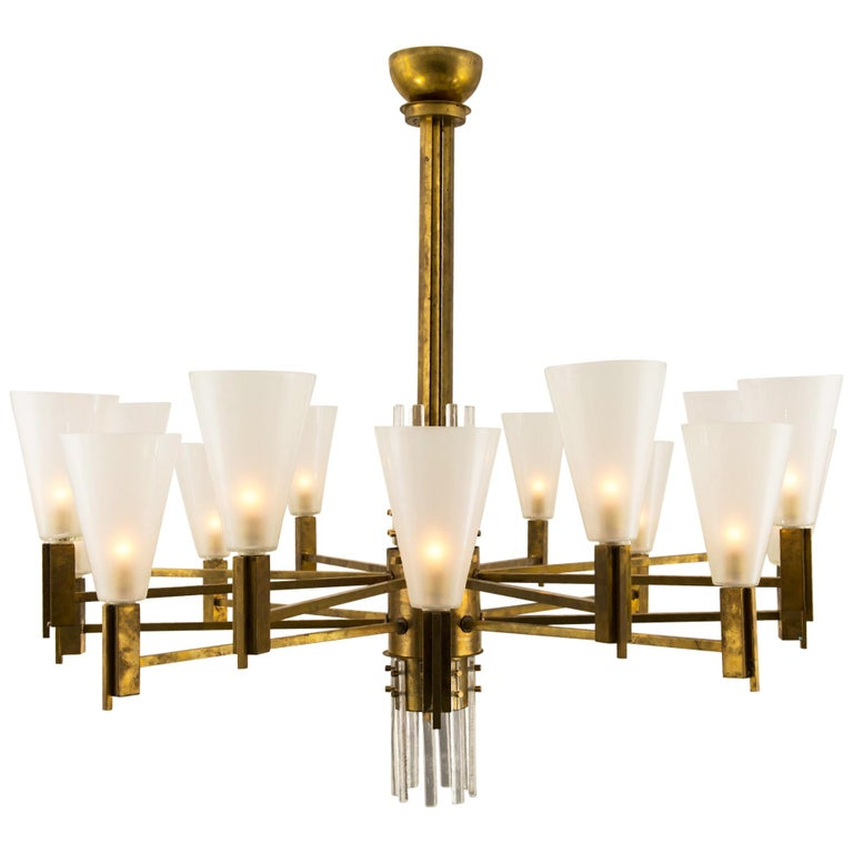 Vintage Stilnovo Style Italian Brass and Glass Chandelier For Sale