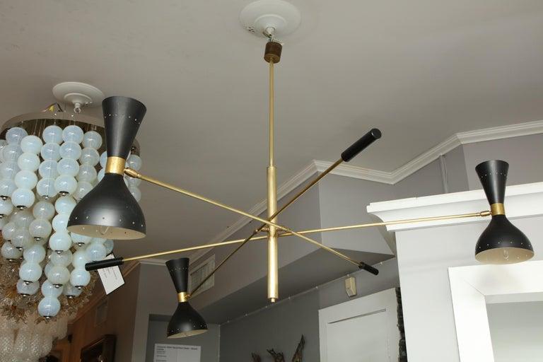 Vintage Stilnovo triad cantilever chandelier.