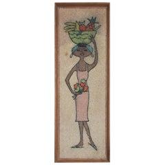 Vintage Stone Wall Art Mixed-Media Woman Folk Art Mexico, 1960s